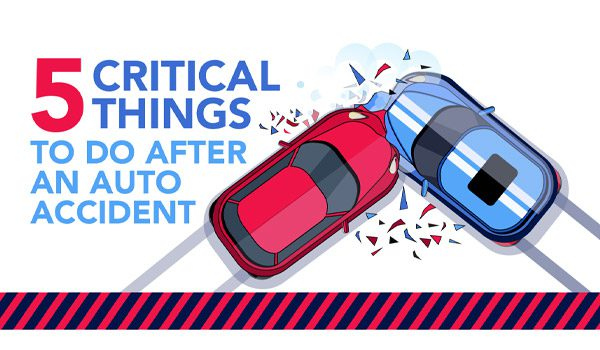Cartoon image of two cars crashing with text 5 critical things to do after an auto accident
