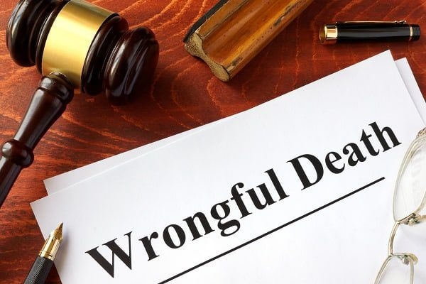 A gave, glasses, and pen sit atop a Document titled Wrongful Death