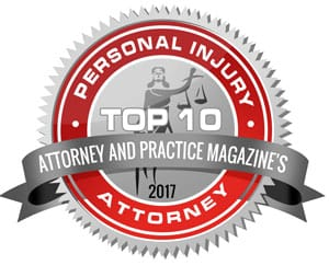 Top 10 personal injury attorney badge for Attorney and Practice Magazine