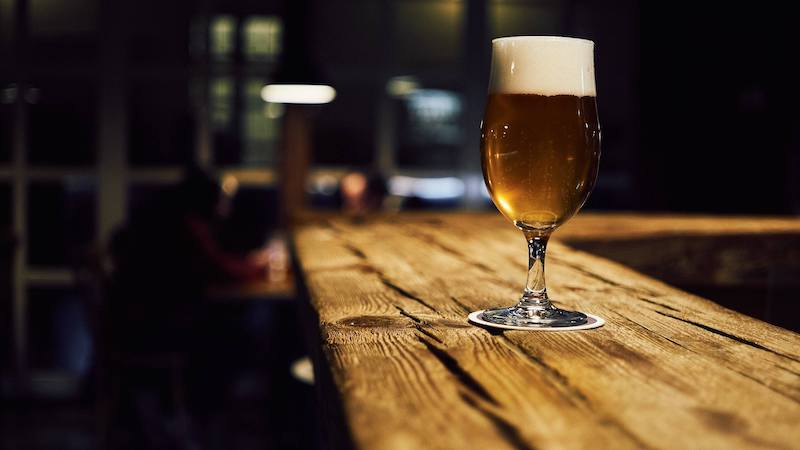 beer on a wooden bar