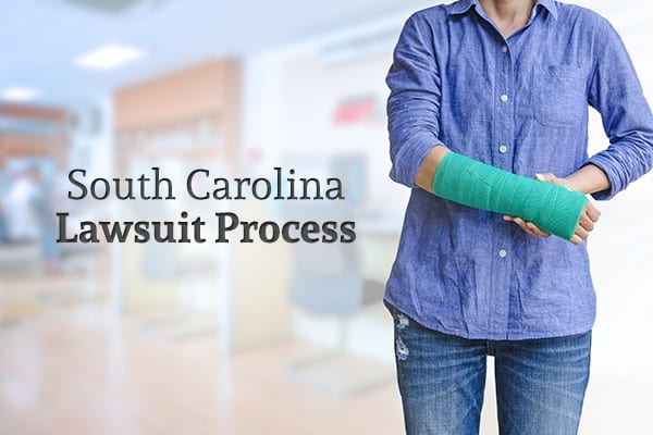 """A woman with her arm in a cast stands beside the words """"South Carolina Lawsuit Process"""""""