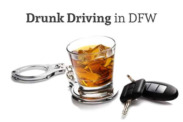 "Handcuffs, a glass of bourbon on the rocks, and car keys sit against a white background under the words ""Drunk Driving in DFW"""