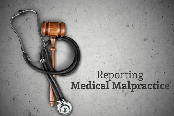"A stethoscope wrapped around a gavel beside the words ""Reporting Medical Malpractice"""