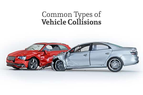 A blue-gray car that has T-boned a red car under the words common types of vehicle collisions