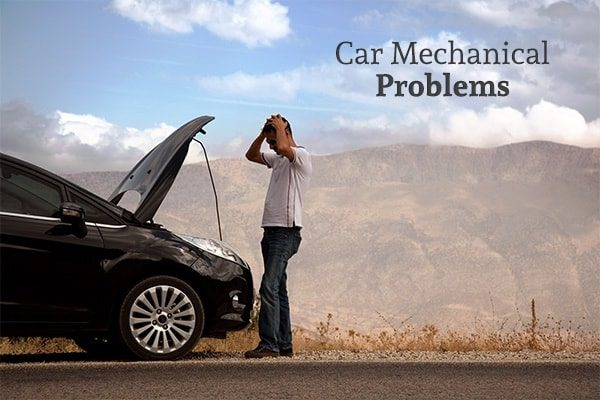 A man is looking distressed at his car engine with the words, car mechanical problems.