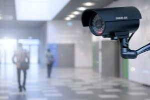 A security camera overlooking a public building.