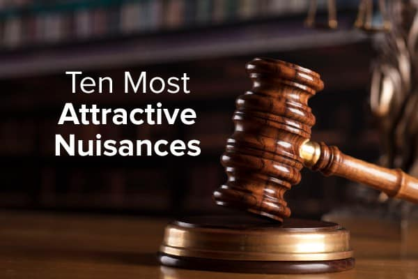A gavel on a desk with the words, ten most attractive nuisances.