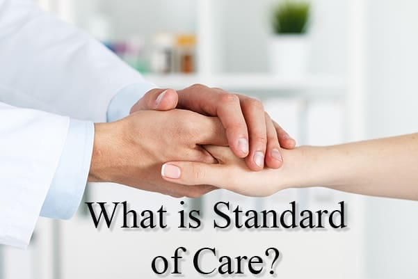 A doctor comforting a patient with the words, what is standard of care?