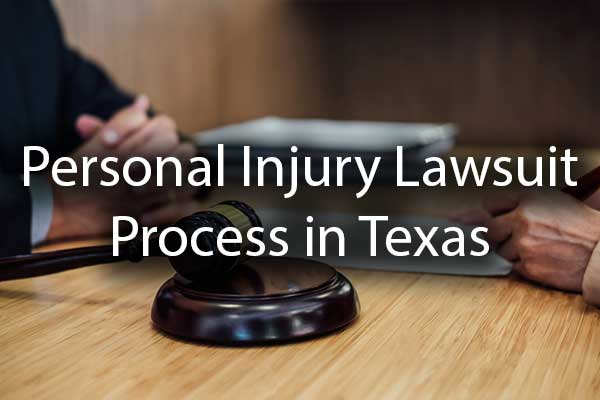 "A lawyer and a client discussing a case with the words, ""personal injury lawsuit process."""