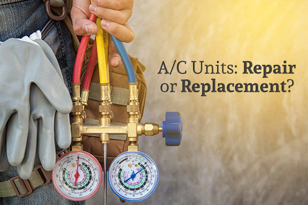 "An HVAC repairman holding a gauge beside the words ""A/C Units: Repair or Replacement?"