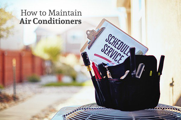 HVAC service technicians bag with the text How to Maintain Air Conditioners