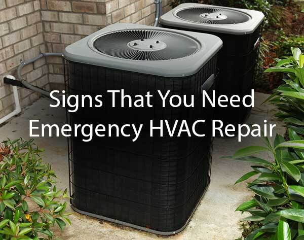 "An outdoor AC unit with the words, ""signs that you need emergency HVAC repair."""