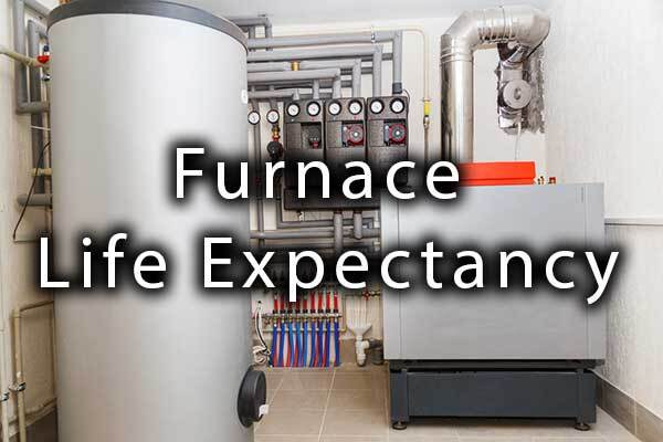 """A picture of a furnace with the words, """"Furnace Life Expectancy."""""""