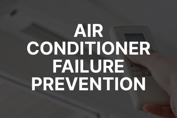"""A technician checking an air conditioner with the words, """"air conditioner failure prevention."""""""