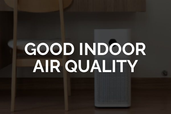 """An air purifier with the words, """"good indoor air quality."""""""