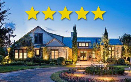 5 stars above beautifully well-lit home