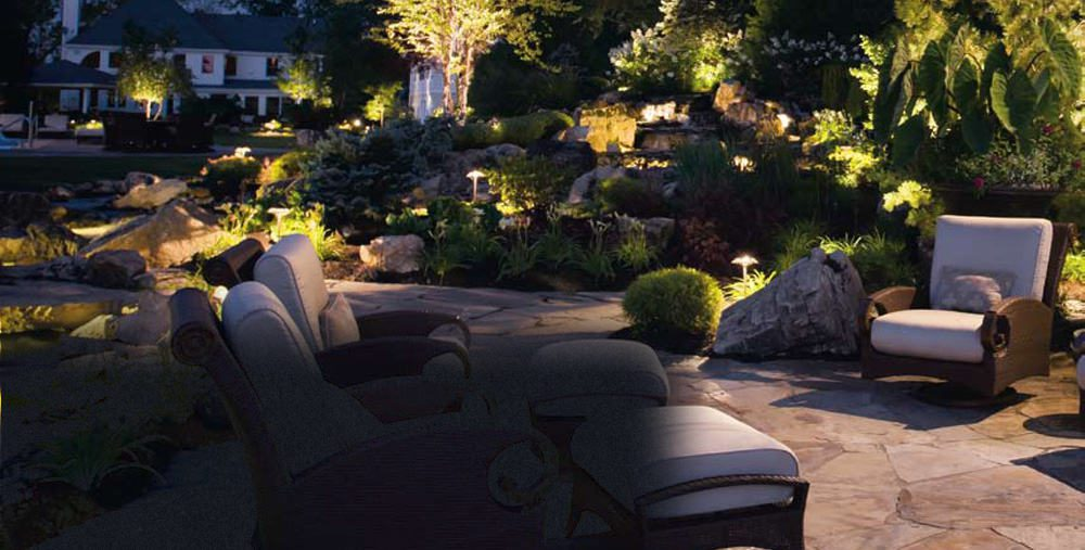 LED lighting sets the mood for an outdoor sitting area