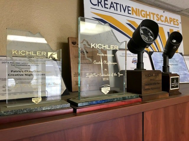 All of Creative Nightscapes awards on Display in their North Richland Hills Tx office