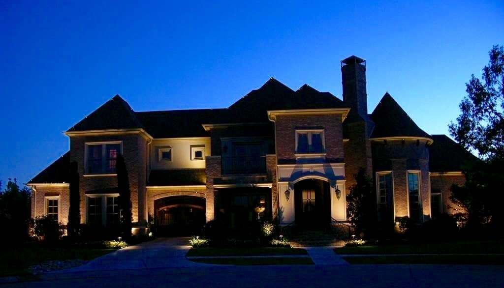 Exterior Lighting used to dramatic effect on a two story home