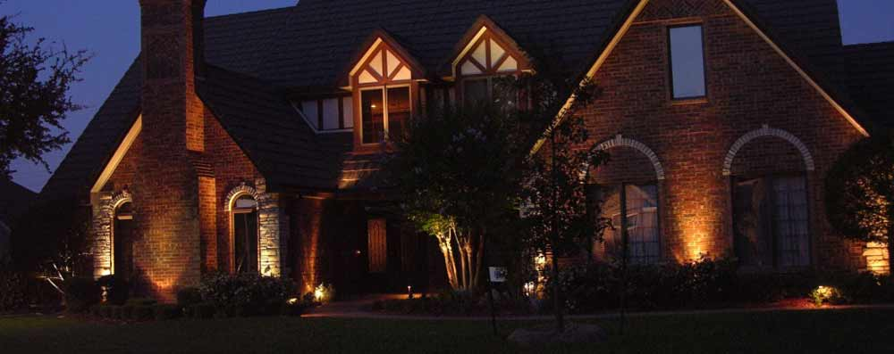 Outdoor Lighting highlights the Tudor architecture of a home