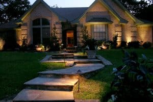 The walk way up to a Ft Worth home is lit up by LED Lighting