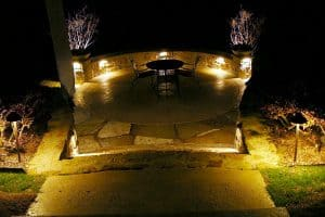 Mood lighting sets the scene on a garden patio at night