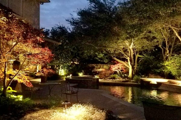 Trees and landscaping lit by outdoor lighting surrounding a backyard pool