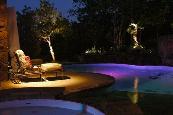 Colorful lights set the mood at poolside