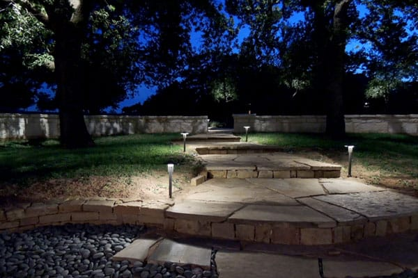 A gorgeous patio making the most of light and darkness.