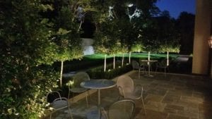 A gorgeous patio with beautiful lights to show off the greenery.
