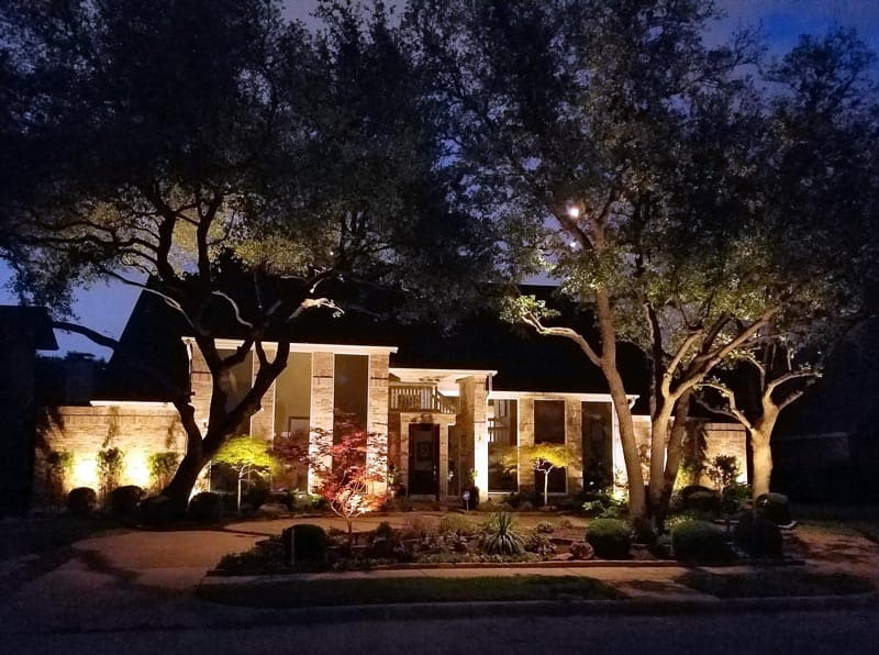 Beautiful Landscaping is more beautiful at night when the lighting is right