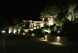 Energy efficient LED lighting beautifies a homes landscaping