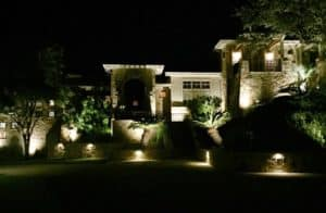 Stunning landscape features are illuminated by outdoor lighting