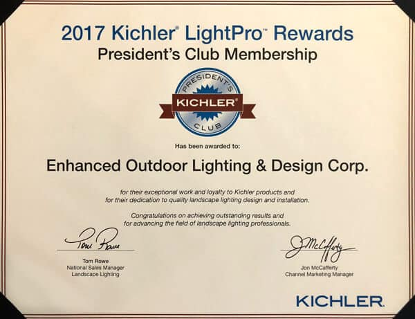 Membership placard indicating that Enhanced Outdoor Lighting is a member of the 2017 Kichler President's Club