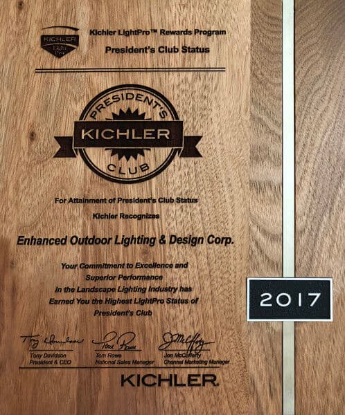 Kichler LightPro placard recognizing Enhanced Outdoor Lighting as a member of the President's Club