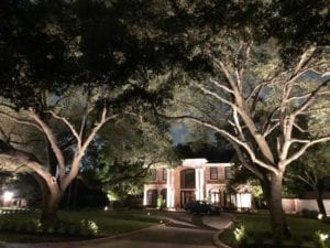 front driveway lit up by outdoor lighting