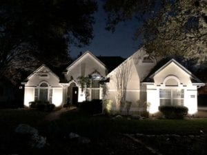 landscape lighting on the front of a home