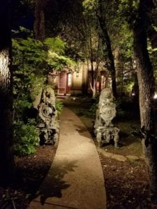 led lights on a pathway to a front door