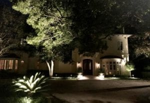 led lighting in front of a home