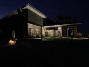 security lighting on front gates and front door