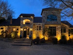 outdoor lighting of a stone home