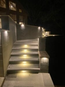concrete steps with path lighting