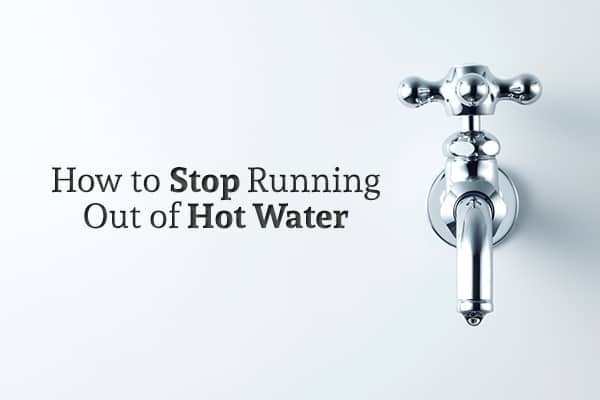 """A chrome, classic looking faucet protrudes from a blue wall beside the words """"How to Stop Running Out of Hot Water"""""""