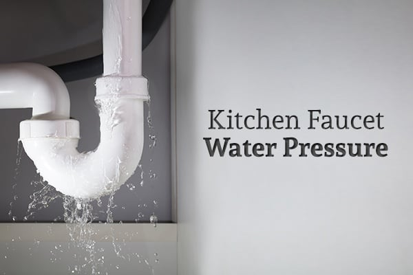 """A leaking sink pipe beside the words """"Kitchen Faucet Water Pressure"""""""