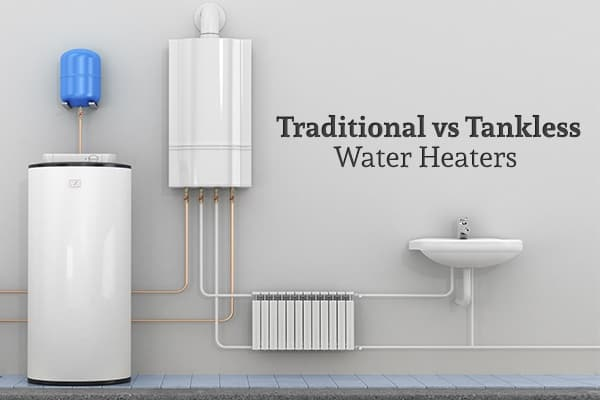"""A storage tank water heater, a tankless water heater, a sink, and pipes are installed beside a wall with the words """"Traditional vs Tankless Water Heaters"""""""