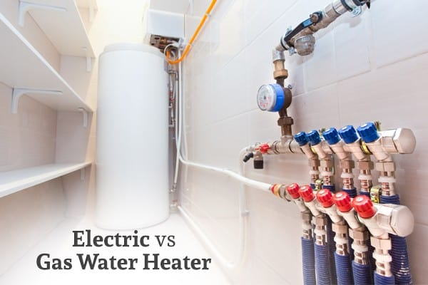 """A picture of a water heater along with pipes and gauges and the words """"Electric vs Gas Water Heater"""""""