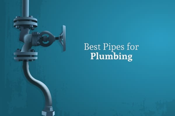 A curving pipe with a valve against a blue wall with the words best pipes for plumbing