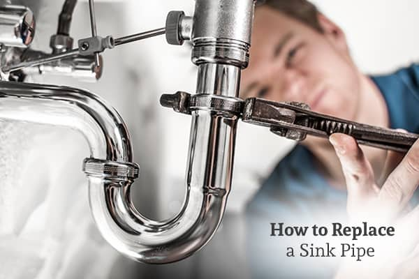 A man is fixing a sink pipe with a wrench, with the words, how to replace a sink pipe