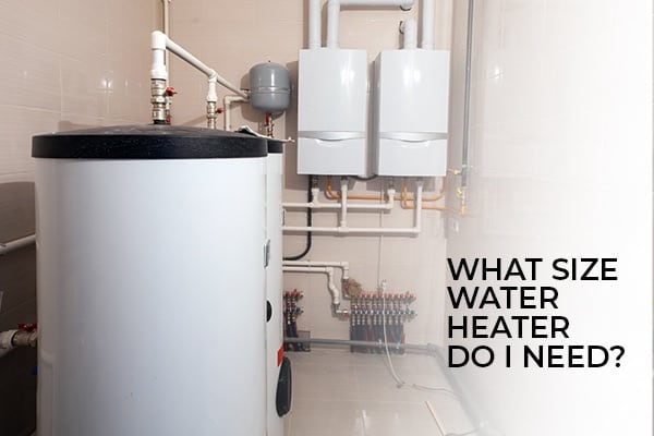 A water heater inside of a home with the words, what size water heater do I need?