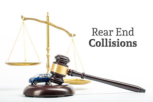 "A gavel and a toy car with a scale in the background and the words ""Rear End Collisions"""